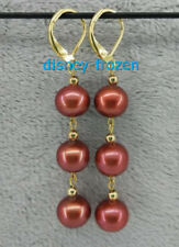 AAA 10-11MM natural south sea chocolater brown pearl earrings 14K Yellow Gold
