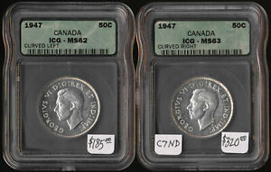 TWO 1947 CANADA 50¢ DIFFERENT VARIETIES (ICG CERTIFIED MS62 & MS63) NO RESERVE