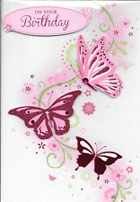 ISABELS GARDEN ON YOUR BIRTHDAY CARD,3D HANDMADE,PINK BUTTERFLY,GLITTER,(A3)