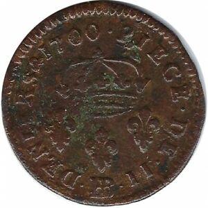 LOUIS XIV (1643-1715) II DENIERS DE STRASBOURG 1700 BB (Strasbourg) TB+/TB R2