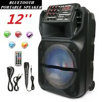 Portable 12 Inch Bluetooth Wireless Speaker Loud Bass Sound Stereo W/ Remote MIC