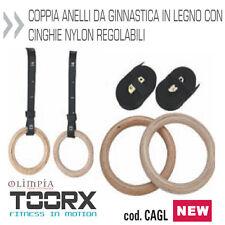 Toorx - Coppia ANELLI GINNASTICA ATLETICA CROSSFIT IN LEGNO - CINGHIE REGOLABILI