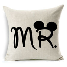"18""x45cm Mr.Mickey and Mrs.Minnie 01 Cotton Linen Decor Cushion cover Pillowcase"
