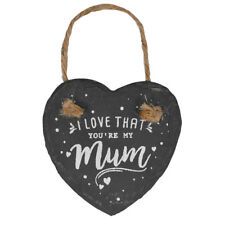 I Love That You're My Mum Mini Heart Shaped Hanging Slate Plaque With Rope