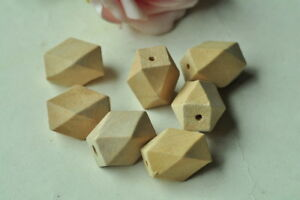 15pcs Oblong Unfinished Natural Wood Bead 14 Hedron Geometric Figure Solid