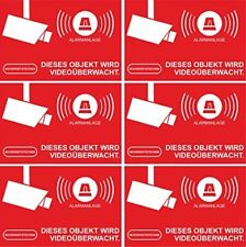 Aufkleber Alarmgesichert - Alarmanlage 10-Set 52x35mm - Rechteckig - rot DE-2135