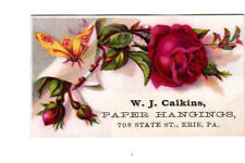 W J Calkins Paper Hangings Erie PA Red Rose Leaves Insect Vict Card c1880s