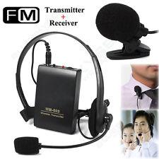 Wireless FM Transmitter Receiver Lapel Clip & Head-worn Mic Microphone Lavalier