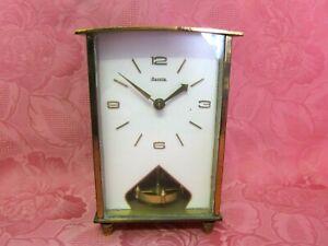 Alte Hermle Kaminuhr Tischuhr w. Messing Quartz H 18cm vintage table clock 13673