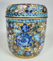 "Antique 1920s Chinese Cloisonné Enamel Floral Motif on Bronze Jar 3.5"" Tall"