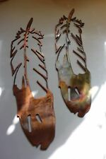 """METAL WALL ART FEATHERS  SETof 2  EXTRA LARGE 36"""" tall"""