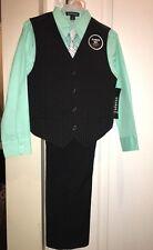 Boys 4 piece outfit Size 12 dress black pants & vest w mint green shirt tie NWT