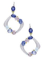 2.60Ct Blue Oval Shaped Stone Dangle Type Women Earrings In 925 Sterling Silver