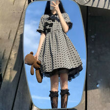 Japanese Loose Mori Girl bow Retro plaid princess dress sweet Lolita skirt cheon