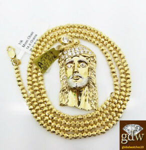 Real 10k Yellow Gold Jesus Head Charm & 10k Moon Cut Chain Necklace 24Inch,Set,N