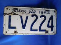 ONTARIO LICENSE PLATE 1954  LV 224 VINTAGE CANADA ANTIQUE CAR SHOP GARAGE SIGN