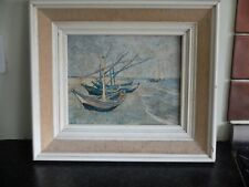 Vintage Vincent Van Gogh  fishing boats on the beach print on board