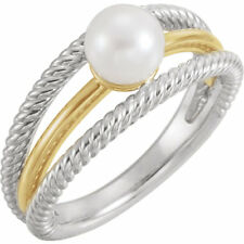 Cultured Freshwater White Pearl 6.5-7 mm in Solid 14K. White & Yellow Gold Ring