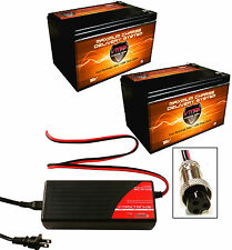 BC2403RZ CHARGER +QTY2 V15-64 AGM 12V 15Ah Batteries for 24V Razor E500S Scooter