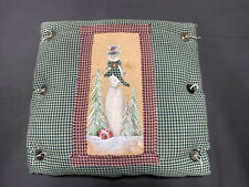 Winter- Snowman w/ Trees Pillow Used Cute Button Accent