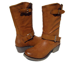 New Women's Casual Riding Boots Tan Camel shoes winter snow Ladies size 5.5