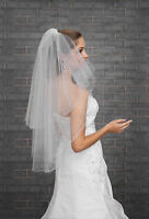 Wedding Veil with Crystals Cut Edge Elbow Length Comb Attached VZ-87