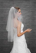 Nuevo 2T blanco/marfil de boda nupcial Codo Velo largo con Peine-Diamante