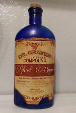 BLUE GHOST BONES DR GRAVES COMPOUND POTION GLASS APOTHECARY BOTTLE HALLOWEEN