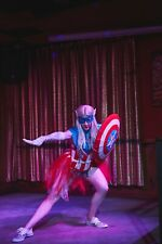 CAPTAIN AMERICA Avengers Burlesque Cosplay Sparkle Costume Women's Sexy