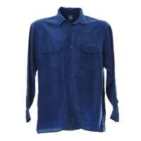 Herren Seidenhemd Langarm Größe M Blau Vintage Shirt Brusttaschen