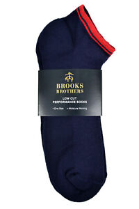 Brooks Brothers Men's 3 Pair Low cut Performance Ankle Socks O/S,Navy/Red,8787-4