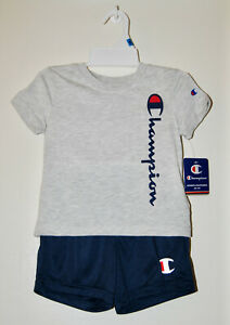 NWT Champion Infant Boys Gray & Navy Blue Logo SS Shirt & Shorts 2pc Set sz 24M