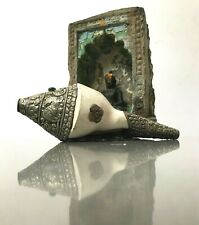 VINTAGE NEPALESE LARGE CONCH SHELL. WHITE METAL, TURQUOISE & CORAL. BUDDHIST,