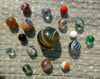 "German Swirl Marbles & Onionskin, Rainbow, Lg Shooter Lot of (17)  ½"" to 1-9/16"""