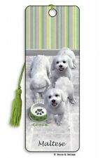 Maltese Dog Gift 3D Bookmark Small White Puppy Paw Animal Present Him Her Kids