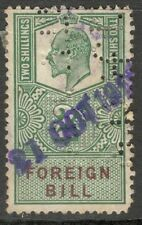 King Edward VII - 2s Green - Foreign Bill - Used - Perfins