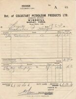 Coldstart Petroleum Products Ltd. Shipley Yorks 1949 Cash Invoice Ref 39725