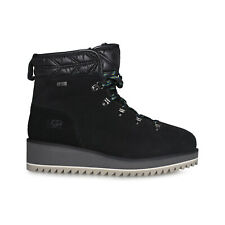 UGG BIRCH LACE-UP BLACK BOOT WATERPROOF SUEDE SHEARLING WOMEN'S BOOTS SIZE US 7