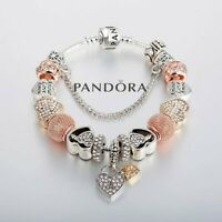 Authentic Pandora Snake Chain Bracelet Silver with Love Heart European Charms