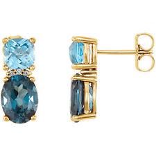 LONDON TOPACIO AZUL, Suizo Topacio Azul&Diamante Pendientes en 14k ORO AMARILLO