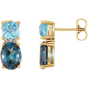 London Blau Topas, Swiss Blue Topas & Diamant Ohrringe 14K Gelbgold