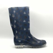 Toms Womens Rainboots Navy Blue White Droplet Cuban Heels Pull Ons 11 N New