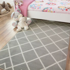 Neutral Grey Silver Cheap Kids Childs Bedroom Playroom Rugs | Free Delivery