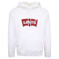 Levi's Men's White Official Logo L/S Pullover Hoodie (S03)