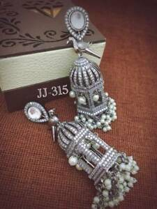 Indian Cz AD Earrings Real Swarovski Silver Bird Cage Wedding Earrings Set