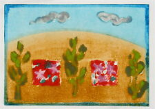 Mary Cane Robinson Modernist Monoprint of Landscape