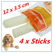 4 NATURAL BEEF RAWHIDE JUMBO STICKS CHEWS LONG LASTING DOG TREAT ADULT PUPPY AP