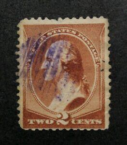 US Stamp Scott #210 ~ WASHINGTON red brown 2c 1883 GR01