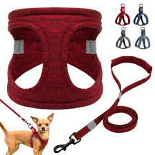 Luxury Step In Dog Harness and Leads Soft Cotton Pet Vest Yorkie Schnauzer S M L