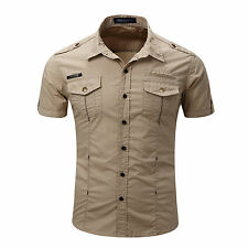 New Men's Double pocket Army Military Short Sleeves Stylish Casual Shirts KD126